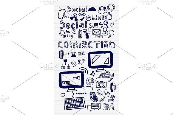 Mega Collection Of Hand Drawn Social Media Internet Concepts
