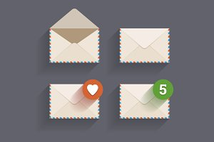 Flat email icons