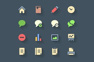 Flat icon set with long shadows