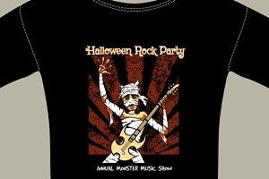 T-Shirt with Halloween Rock Music