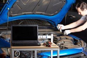 Working car repair station