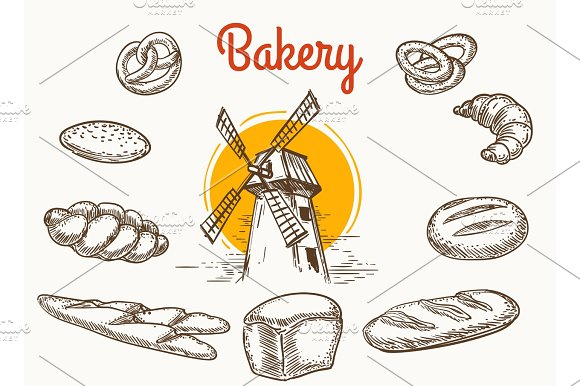 Vintage Traditional Bakery Products Sketch