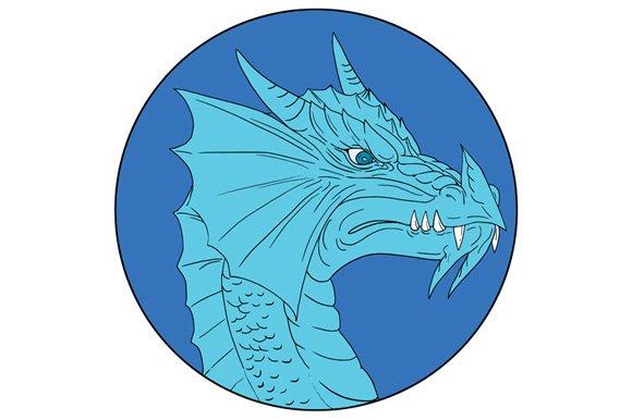 Blue Dragon Head Angry Circle