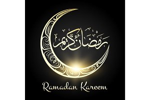 Ramadan kareem religious night moon background