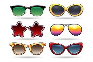 Colored sunglasses with reflection