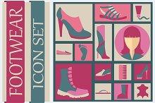 Footwear icon set