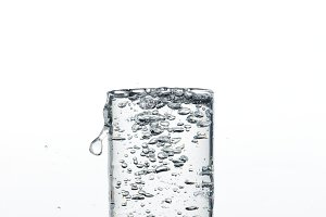 Glass with pouring drinking water