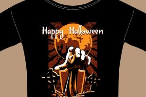 T-Shirt with Halloween Zombie Hand