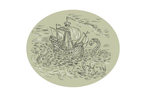 Tall Ship Turbulent Sea Serpents