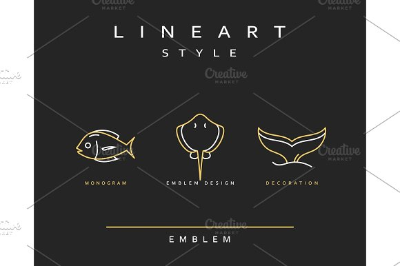 Fish Emblem In Linear Style