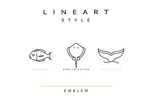 Fish emblem in linear style.