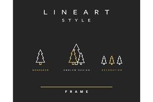 Tree emblem in linear style.