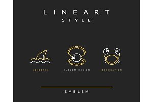 Crab, pearl, and fin emblem in linear style.