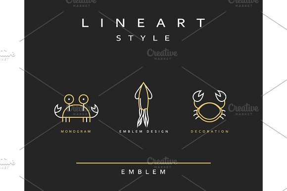 Marine Life Set Emblem In Linear Style