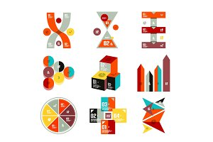 Collection of trendy colorful infographic diagram templates