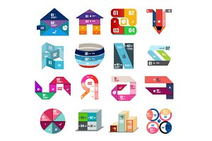 Set of colorful paper style ribbon stripes and lines infographic diagram templates