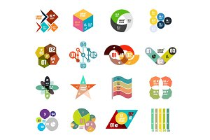 Set of trendy geometrical shaped infographic diagram templates