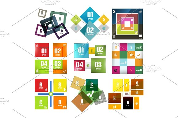 Set Of Square Shaped Infographic Diagram Templates