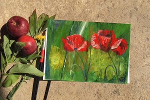 Poppies painted with acrylic