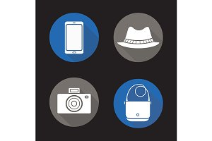 Tourist's equipment. 4 icons. Vector