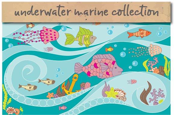 Set Of Sea Creatures Illustrations