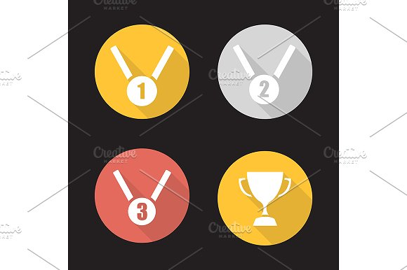 Competition Rewards 4 Icons Vector