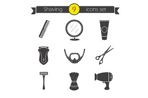 Shaving. 9 icons. Vector