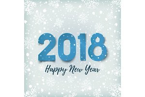 Happy New Year 2018. Blue winter background.