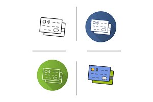 Credit cards. 4 icons. Vector