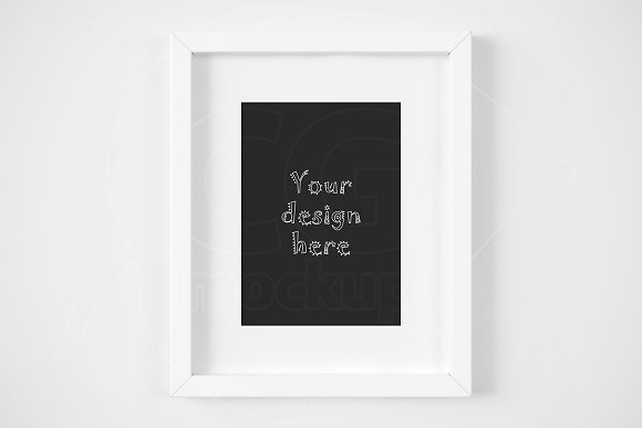 White Matted Frame 5x7 Inch Mockup