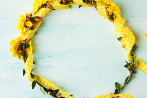 Spring yellow flower wreath
