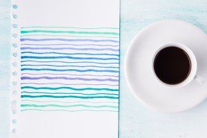 Pastel color palette card and cup of coffee background