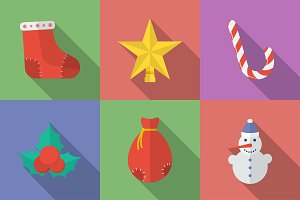 Set of 16 Christmas icons.