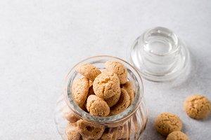 Amaretti cookies in glass pot