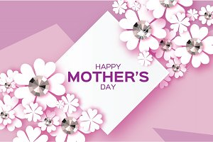 Purple Happy Mothers Day. Brilliant stones. White Paper cut flower. Rhombus frame.