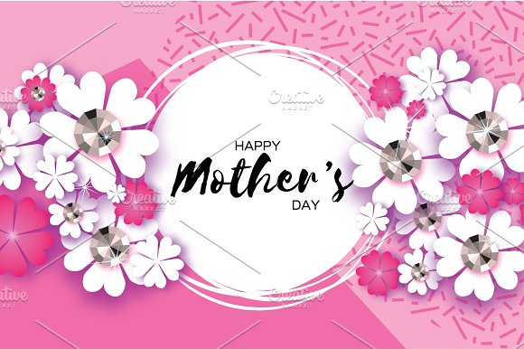 Pink Happy Mothers Day. Paper cut Floral Greeting card . Brilliant ...