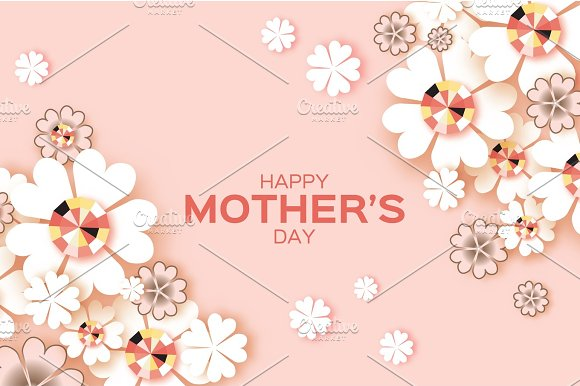 Pastel Happy Mothers Day Brilliant Stones White Paper Cut Flower Rhombus Frame