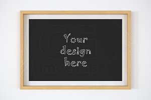 Wood matted frame 8x12 inch mockup