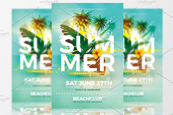 summer party flyer template flyer templates creative market