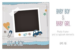 Baby boy and baby girl photo frames