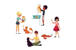 Happy kids feeding, washing, stroking a cat, playing with pet