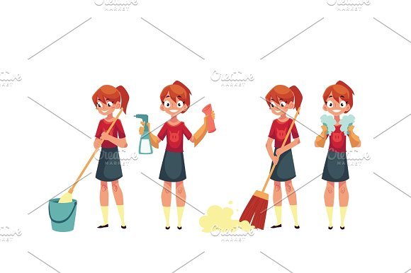 Teenage Girl Cleaning The House Doing Chores Cartoon Vector Illustration