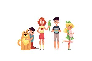 Kids with pets - dog, cat, parrot and golden fish