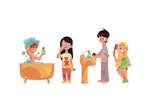 Kids, children taking bath, brushing teeth, washing hands, combing hair