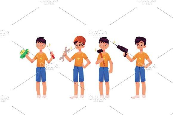 Boy As Mechanic Repairman Holding Screwdriver Hammer Drill Wrench