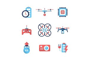 Drones - flat design icons set