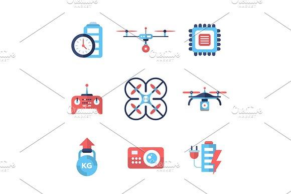 Drones Flat Design Icons Set