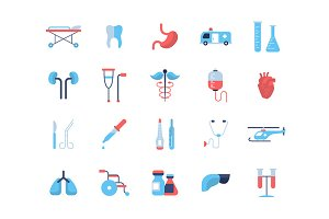 Medicine - flat design icons, pictograms