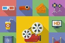 Set of 13 Cinema, Movie icons.