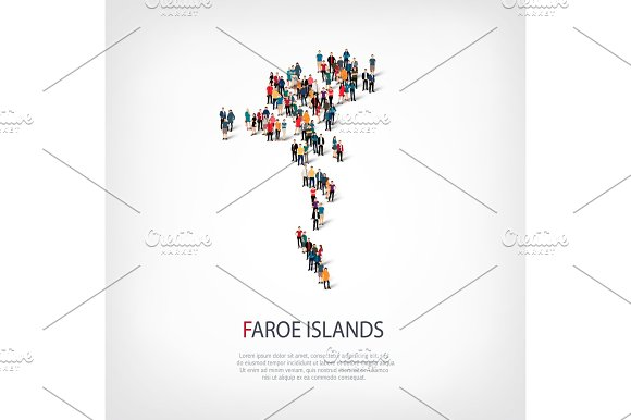 People Map Country Faroe Islands Vector